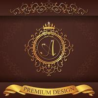 heraldiskt alfabet guld premium design a vektor