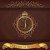 heraldiskt alfabet guld premium design d vektor