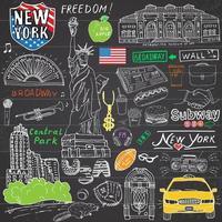 New York City kritzelt Elemente. Hand gezeichnetes Set mit, Taxi, Kaffee, Hotdog, Freiheitsstatue, Broadway, Musik, Kaffee, Zeitung, Museum, Central Park. Zeichnungskritzelsammlung, lokalisiert auf Weiß vektor