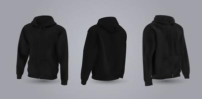 schwarzes Herren-Kapuzenpullover-Modell in der Vorder-, Rück- und Seitenansicht, lokalisiert auf einem grauen Hintergrund. Realistische Vektorillustration 3d, formelles oder lässiges Sweatshirt des Musters. vektor
