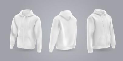 weißes Herren-Kapuzenpullover-Modell in der Vorder-, Rück- und Seitenansicht, lokalisiert auf einem grauen Hintergrund. Realistische Vektorillustration 3d, formelles oder lässiges Sweatshirt des Musters. vektor
