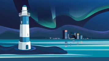 Leuchtturm auf Hintergrund der Nachtstadt. vektor