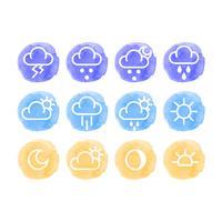 Vektor Aquarell Wetter Icons