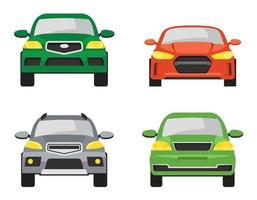 uppsättning av olika bilar framifrån. vektor