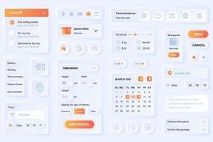 Elemente der Benutzeroberfläche für die Lieferung App neumorphic Design UI Elemente Vorlage vektor