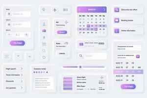 Benutzeroberfläche Elemente für Reisebuchung mobile App neumorphic Design UI Elemente Vorlage vektor