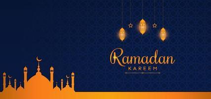 vacker ramadan bakgrundsmall med gyllene färg vektor