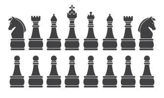 schwarze Schachspiel-Silhouette vektor