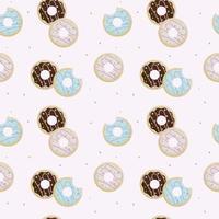 Donut Tag. nahtloses Muster von gebissenen Donuts im Zuckerguss und auf rosa Hintergrund streuen vektor
