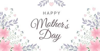 glückliche Muttertagsgrußkarte mit Blumen und Herzen. Perfekt für Grußkarten, Websites, Banner oder Tags. Vektorillustration. vektor