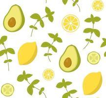 Vektor nahtloses Muster mit Avocado, Gurke, Zitrone und Basilikum. Perfekt für Tapeten, Hintergrund, Geschenkpapier oder Textilien. grünes Gemüse, Obst und Kräuter auf weißem Hintergrund.