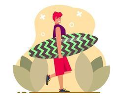 pojke som håller surfingbrädaillustration i platt stil vektor