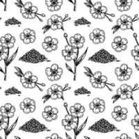 Flachs nahtloses Muster mit handgezeichneten Designelementen. Vektorillustration im Skizzenstil. vektor