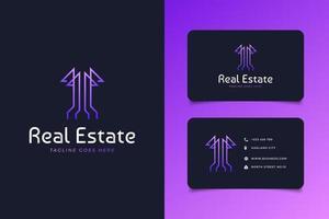 Immobilienlogo in lila Farbverlauf mit Linienstil. Wolkenkratzer-Logo. Entwurfsarchitektur des Gebäudearchitekturgebäudes vektor