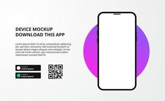 Landing Page Bannerwerbung zum Herunterladen von App für Mobiltelefon, 3D-Smartphone-Gerätemodell. Download-Schaltflächen mit Scan-QR-Code-Vorlage. vektor
