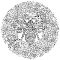Biene und Blume auf weißem Hintergrund. handgezeichnete Skizze für Malbuch für Erwachsene vektor
