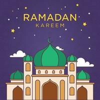 monoline tecknad ramadan kareem prydnad med ljus färg vektorillustration. moské och månadsritad linje enkel. bakgrund eid mubarak vektor