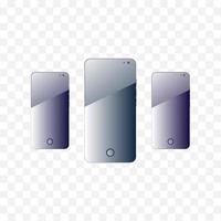 Smartphone auf transparentem Hintergrund. Gadget Frame Bildschirm Hintergrund. vektor