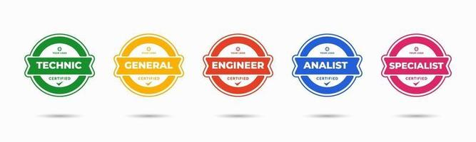 Satz von Firmenausweiszertifikaten zur Bestimmung anhand von Kriterien. Vektor-Illustration zertifiziertes Logo-Design. vektor