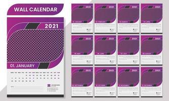 minimales professionelles Wandkalender-Schablonendesign 2021. vektor