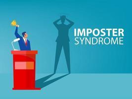 imposter syndrom man står för sin nuvarande profil med rädsla skugga bakom. ångest och brist på självförtroende på jobbet personen fejkar är någon annans begrepp vektor
