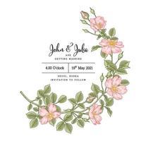 Einladungskartenschablone rosa Hundrose oder rosa canina Blume Hand gezeichnete botanische Illustration vektor