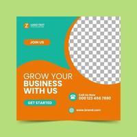Orange Social Media Post Design Vorlage vektor