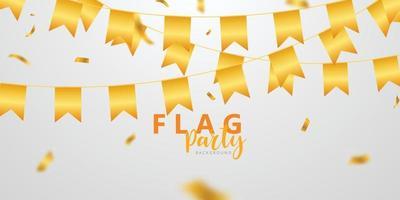 Flaggenfeier Konfetti und Bänder Goldrahmen Party Banner, Ereignis Geburtstag Hintergrundvorlage mit. vektor
