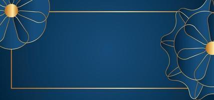 abstrakter blauer Blumenrahmen oder Hintergrund vektor