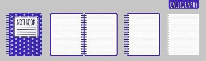 Vektorkarikaturillustration mit Kalligraphie-Notizbuch, offenem Notizbuch und leeren Blättern auf weißem Hintergrund. vektor