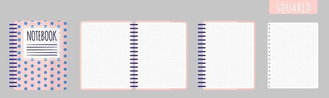 Vektorkarikaturillustration mit quadratischem Notizbuch, offenem Notizbuch und leeren Blättern auf weißem Hintergrund. vektor