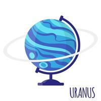 Vektorkarikaturillustration mit Uranus-Globus der Desktop-Schule lokalisiert auf weißem Hintergrund. vektor