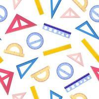 nahtloses Muster der Vektorkarikatur mit verschiedenen Linealen auf weißem Hintergrund für Web, Druck, Stoffbeschaffenheit oder Tapete. vektor