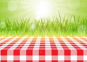 Röd och vit bordsduk mot en defocussed bakgrund 0407