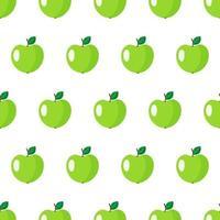 nahtloses Muster des Vektors mit ganzer grüner Apfelfrucht mit Blättern lokalisiert auf weißem Hintergrund vektor