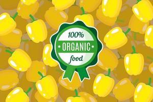 Vektorplakat oder -fahne mit Illustration des gelben Paprika-Hintergrunds und des runden grünen Bio-Lebensmitteletiketts vektor