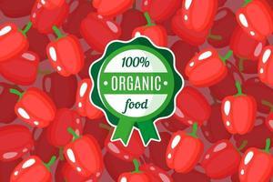 Vektorplakat oder -fahne mit Illustration des roten Paprika-Hintergrunds und des runden grünen Bio-Lebensmitteletiketts vektor
