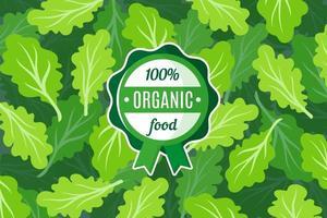 Vektorplakat oder -fahne mit Illustration des grünen Salathintergrunds und des runden grünen Bio-Lebensmitteletiketts vektor