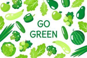 Vektorkarikaturillustration gehen grünes Plakat mit gesundem grünem Essen, Gemüse und Früchten lokalisiert auf weißem Hintergrund vektor
