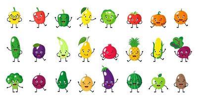 Vektorkarikatursatz von Obst- und Gemüsecharakteren mit verschiedenen Posen und Emotionen lokalisiert auf weißem Hintergrund vektor