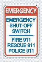 Not-Aus-Schalter 911 Zeichen vektor