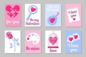 Satz von rosa, weißen und blauen farbigen Karten für Valentinstag oder Hochzeit. Vektor flaches Design lokalisiert auf grauem Hintergrund