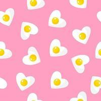 sömlösa mönster med hjärtformad omelett, frukost för alla hjärtans dag. vektor