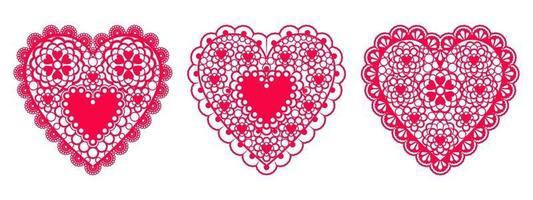 Satz Spitzenherzen aus Papier für Designelementhochzeits- oder Valentinstagskarten, Einladungen usw. Vektor flaches Design.