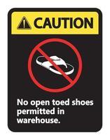 Vorsicht keine offenen Schuhe Zeichen auf weißem Hintergrund vektor
