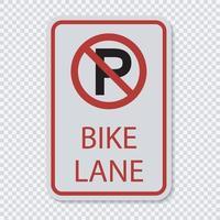 kein Parkplatz Fahrradwegschild vektor