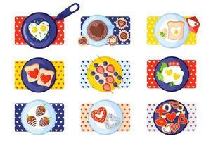 Valentinstag Frühstücksset Toast, Rührei, Omelett, Lebkuchen, Süßigkeiten, Kaffee, Donuts, Erdbeeren. vektor