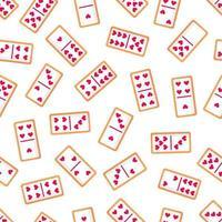 nahtloses Muster von Domino-Knochenplätzchen mit Herzen für Valentinstag. Vektor flaches Design lokalisiert auf weißem Hintergrund