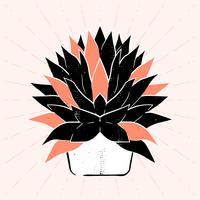 Succulents Handgjord Linocut Vector Illustration Isolerad På Bakgrund