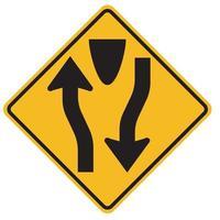 Warnzeichen geteilte Straße beginnt auf weißem Hintergrund vektor